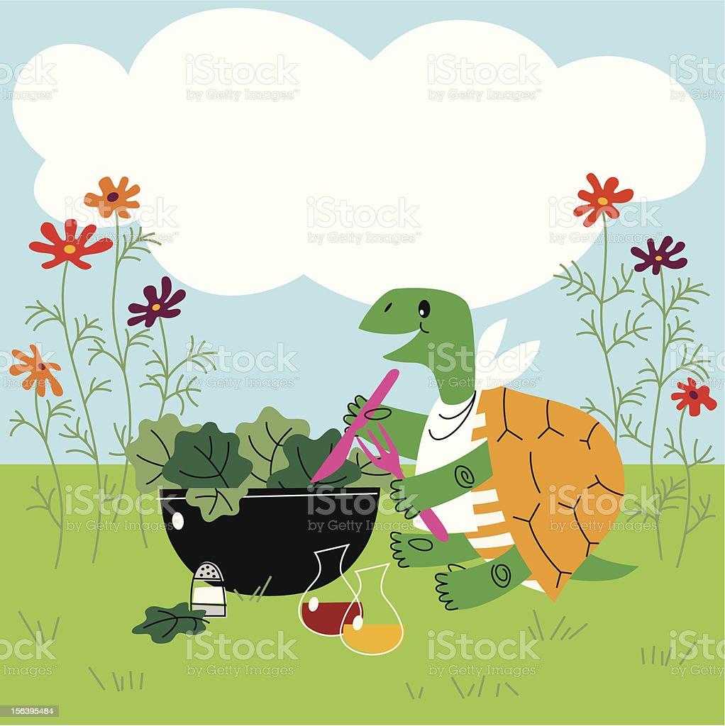 Tortoise&salad vector art illustration