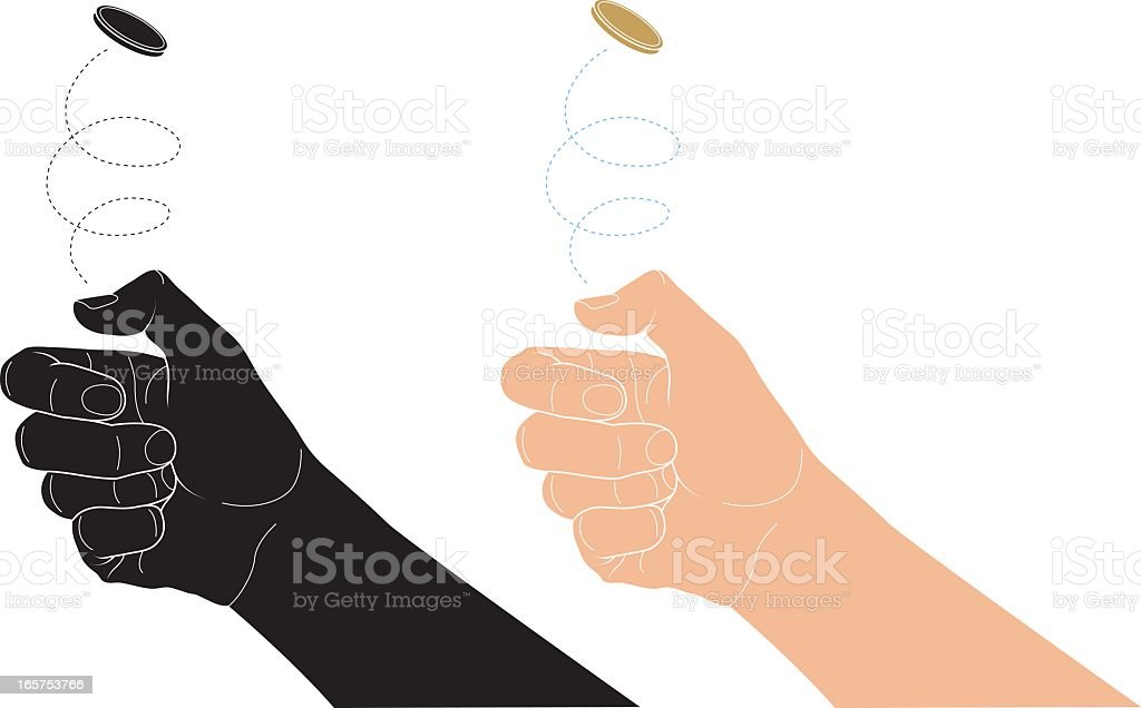 Tossing a coin vector art illustration