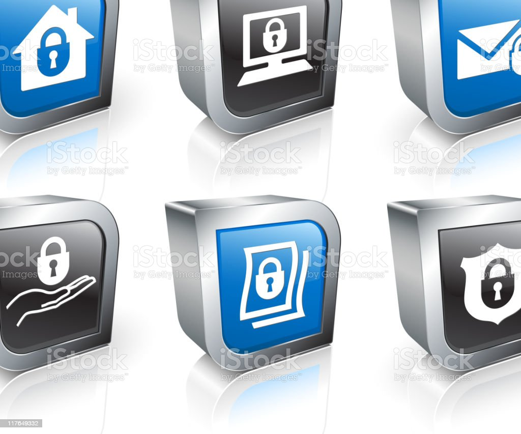 total security 3D royalty free vector icon set royalty-free stock vector art
