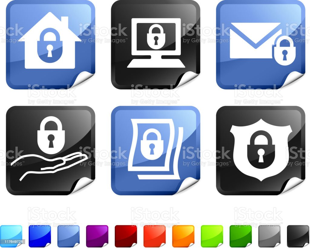 total security royalty free vector icon set stickers royalty-free stock vector art