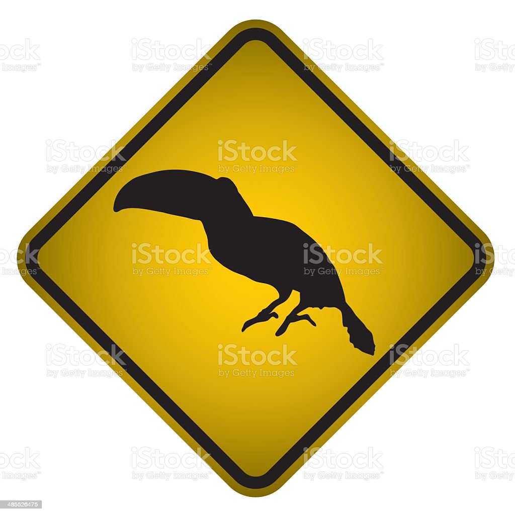 Toucan Warning Sign- Vector vector art illustration
