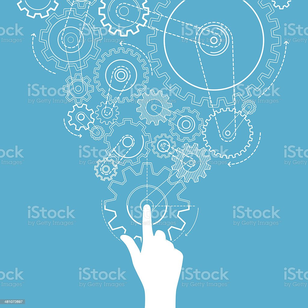 Touch gears vector art illustration