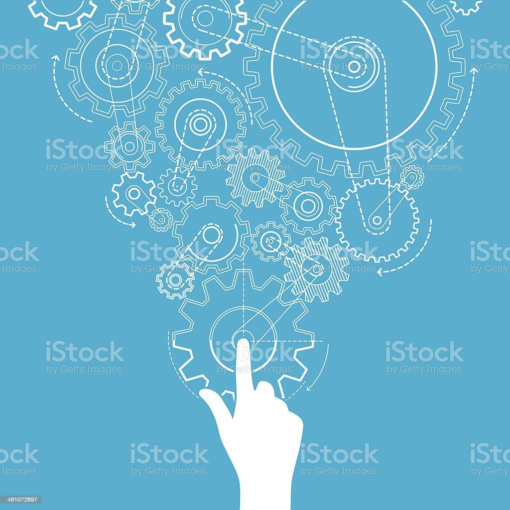 Touch gears vector art illustration
