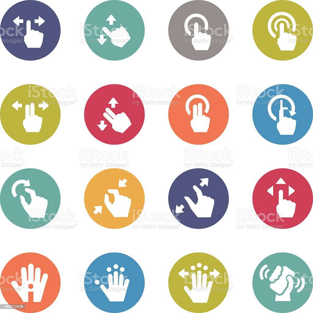 Touch Gesture Icons - Circle Series vector art illustration