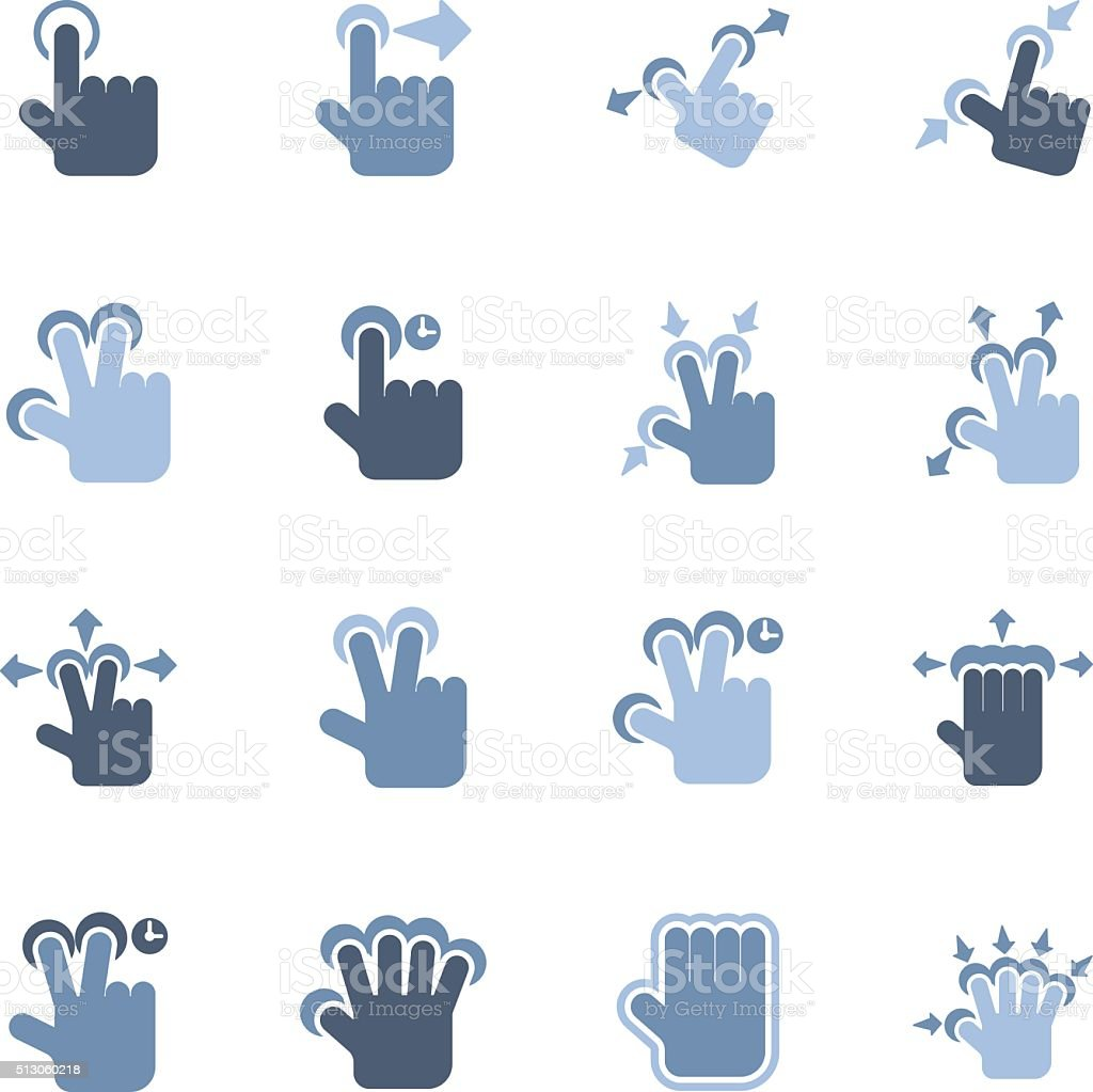 touch gesture icons vector art illustration