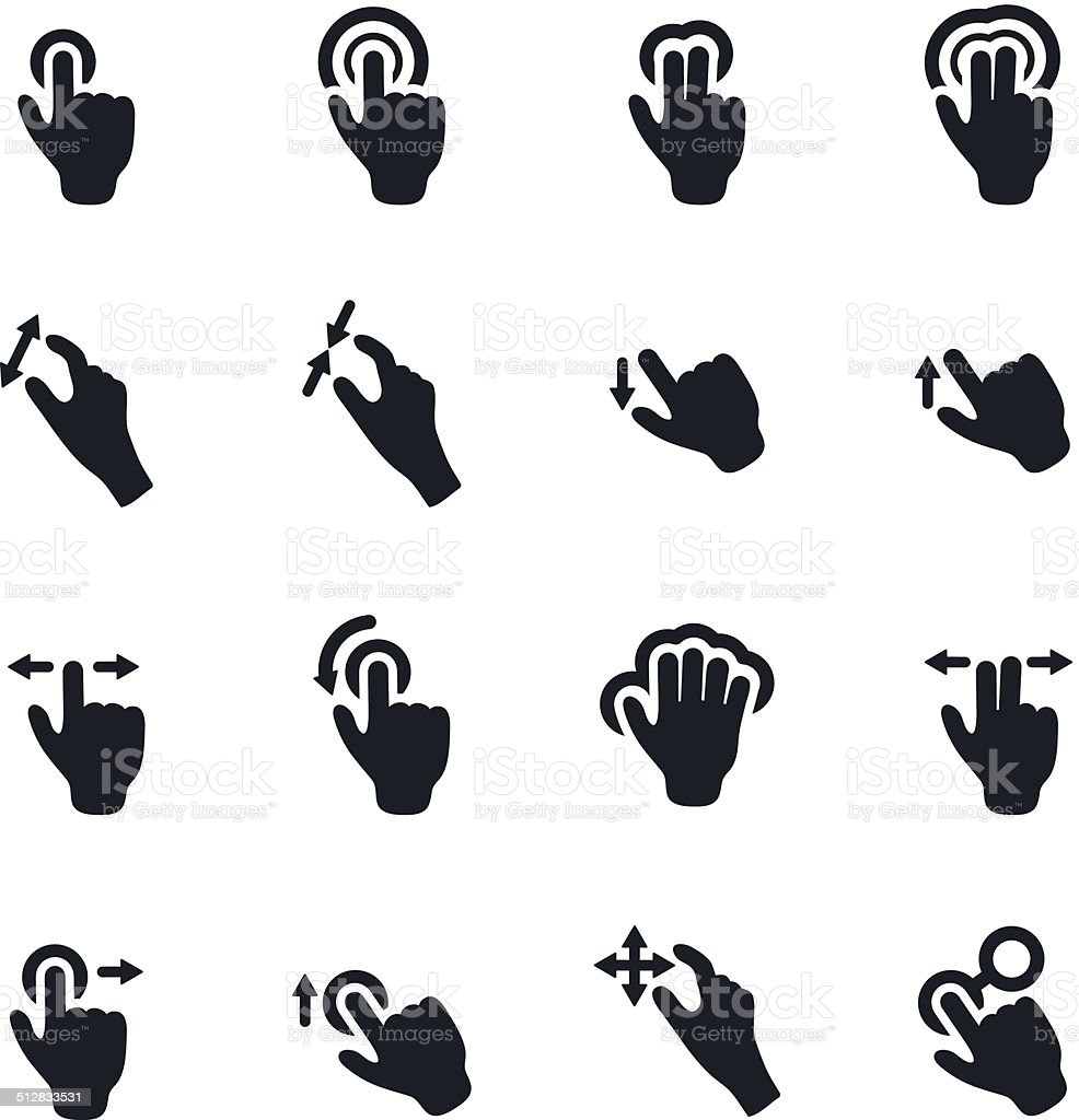 Touch Gestures vector art illustration