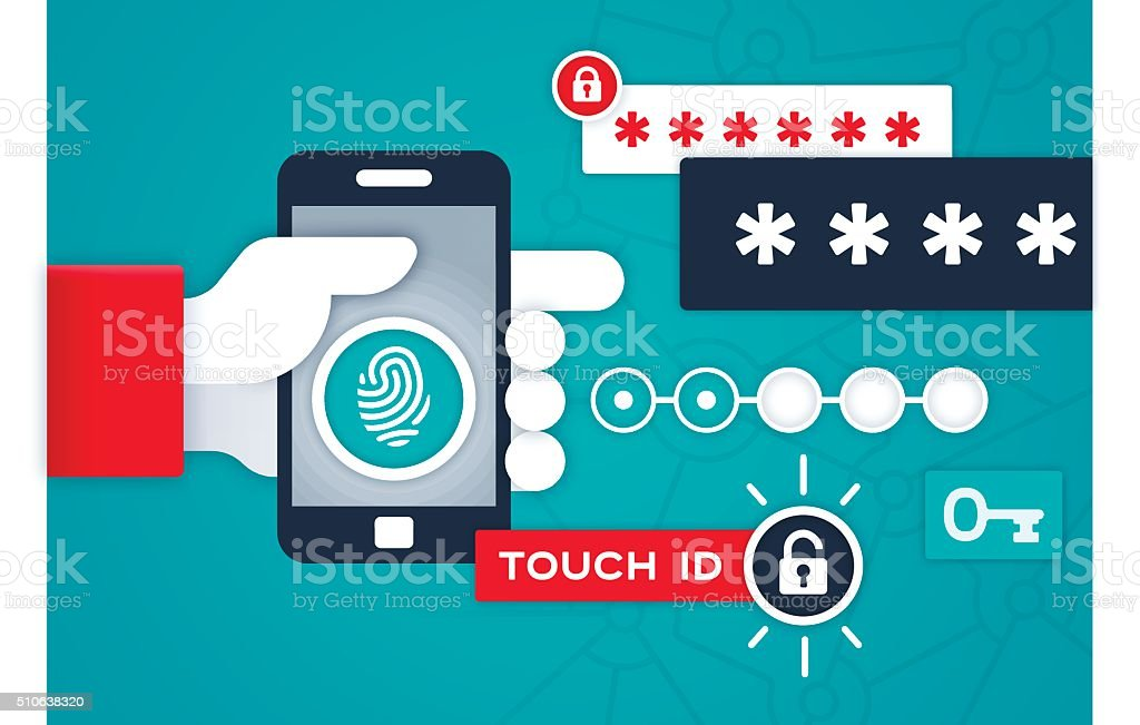 Touch ID Mobile Device Security and Privacy vector art illustration