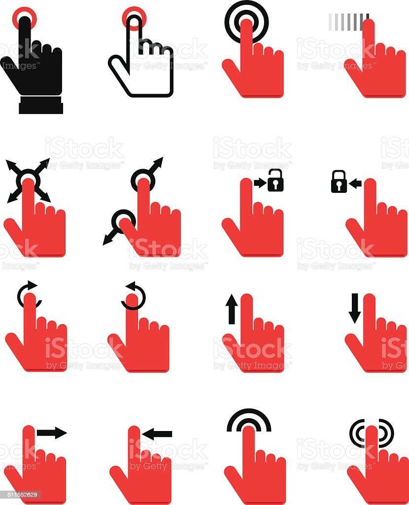 Touch Pad Gestures vector art illustration