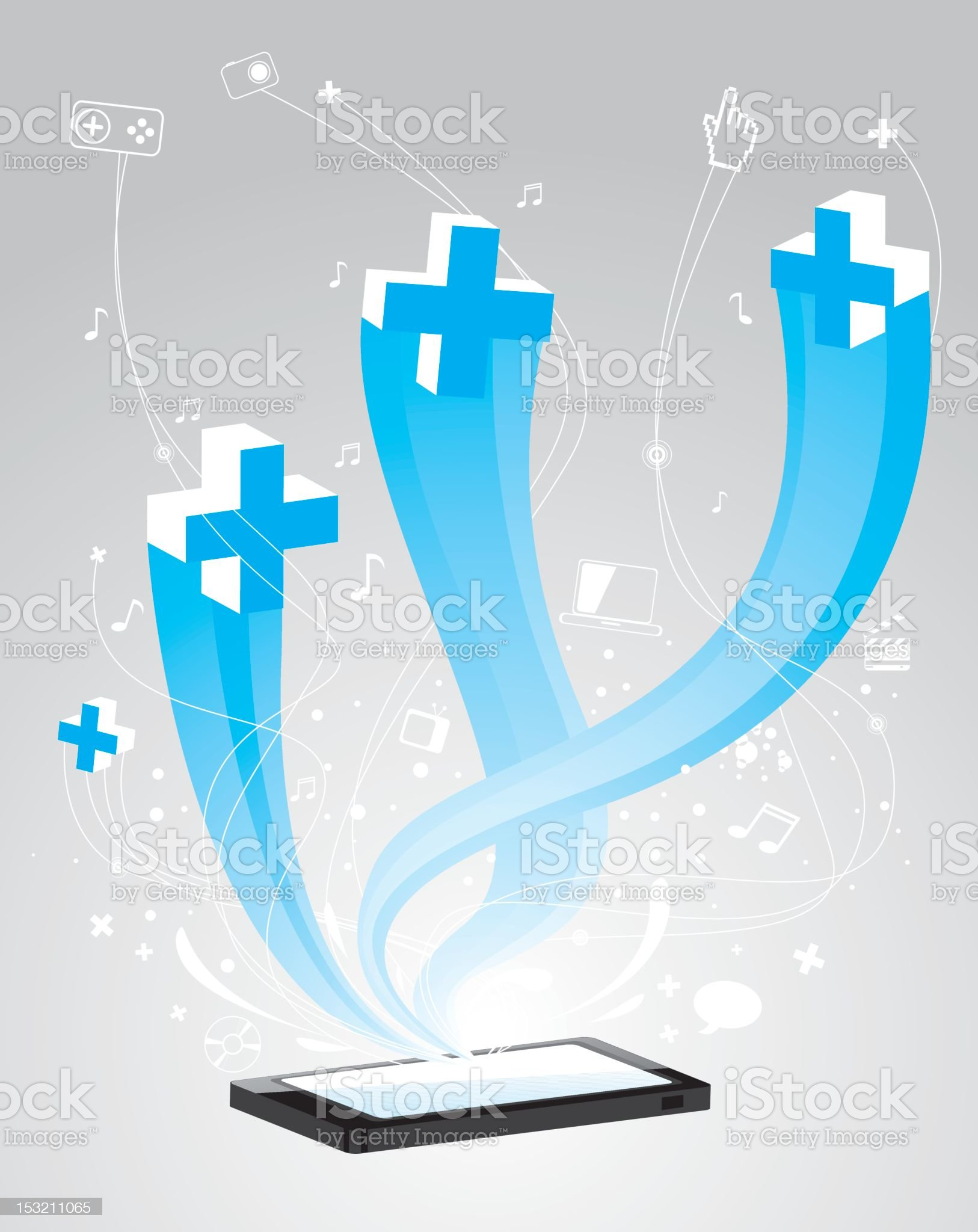 Touch screen cell phone royalty-free stock vector art