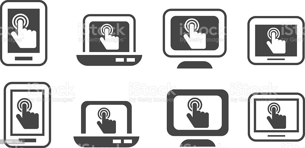 Touch screen display icon vector art illustration