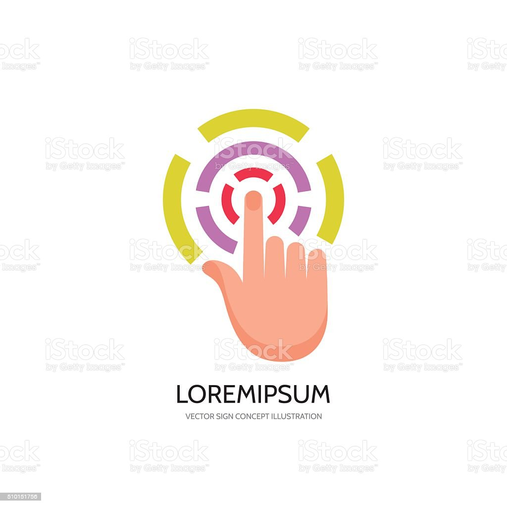 Touch screen finger - vector concept sign illustration vector art illustration