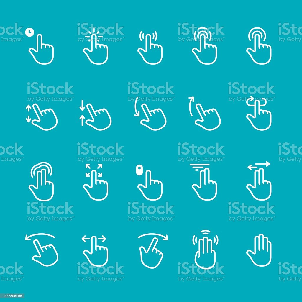 Touch screen gesture related vector icons vector art illustration