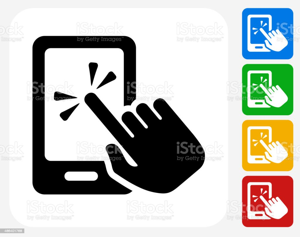 Touch Screen Smart Phone Icon Flat Graphic Design vector art illustration