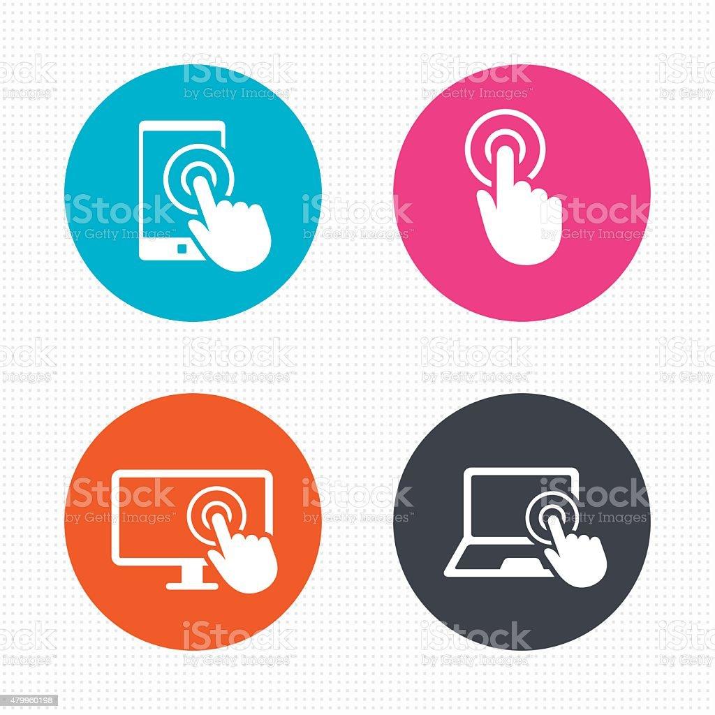 Touch screen smartphone. Hand pointer symbols vector art illustration