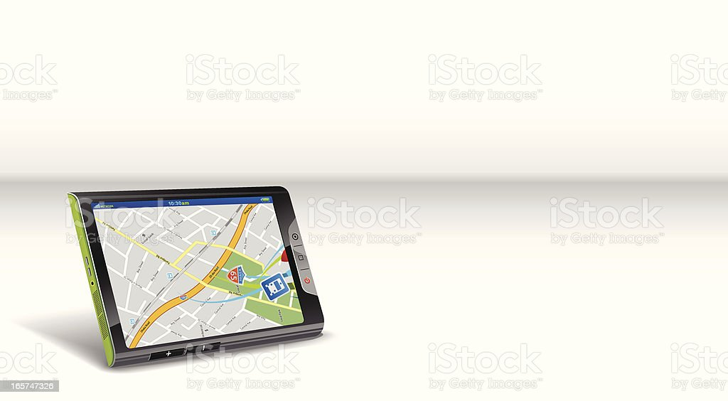 Touch tablet for map navigation royalty-free stock vector art