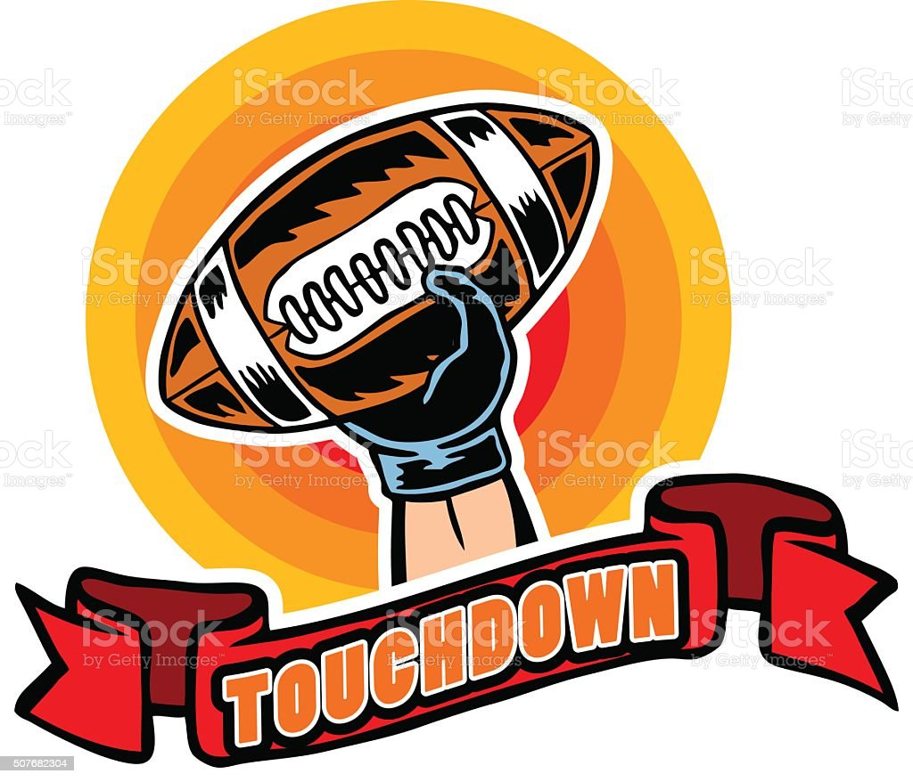 Touchdown Badge Comic Style vector art illustration