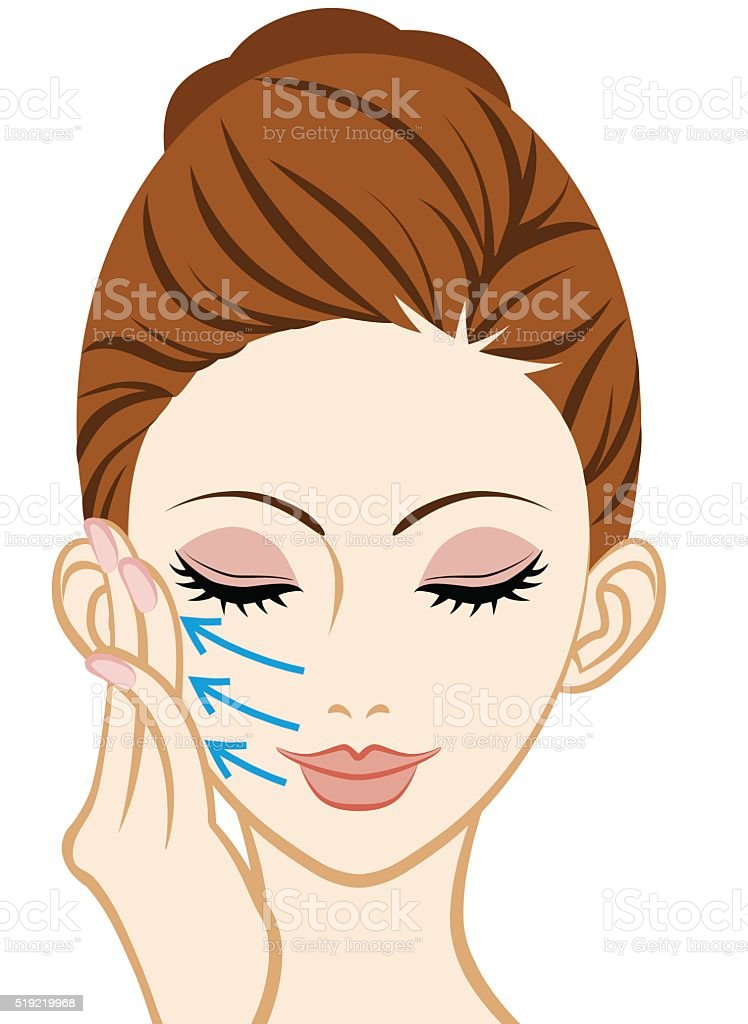 Touching a Cheek- Facial Skin Care vector art illustration