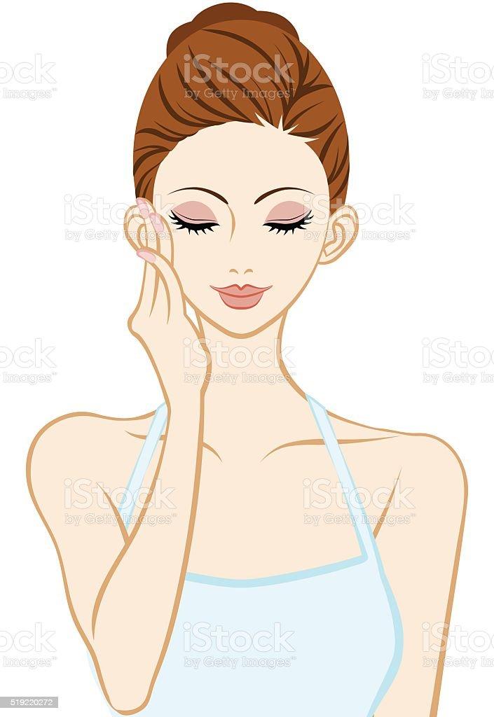 Touching Cheek - Skin care - Closed eyes vector art illustration