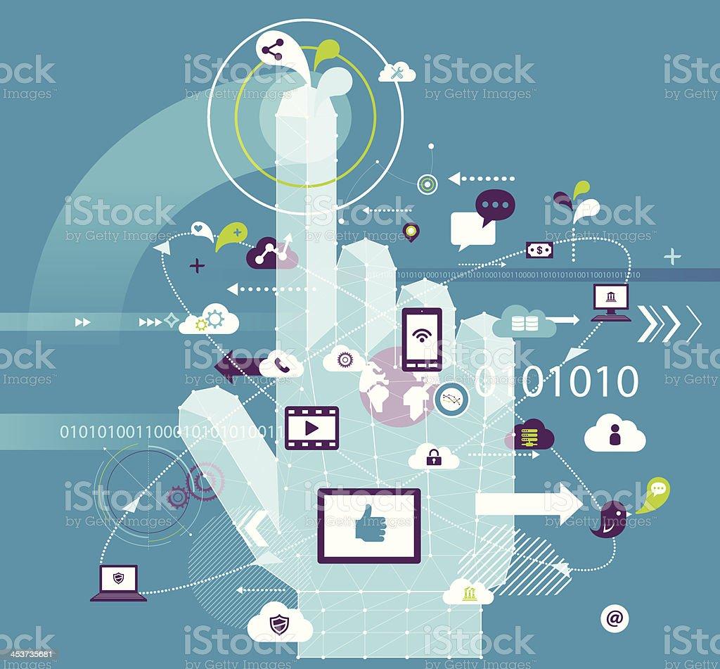 Touching Digital royalty-free stock vector art