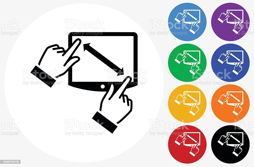 Touchscreen Icon on Flat Color Circle Buttons vector art illustration