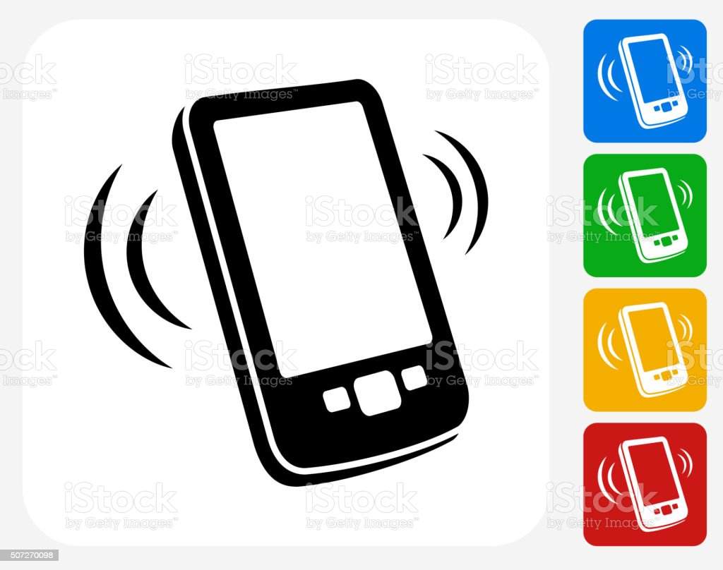 Touchscreen Phone Icon Flat Graphic Design vector art illustration
