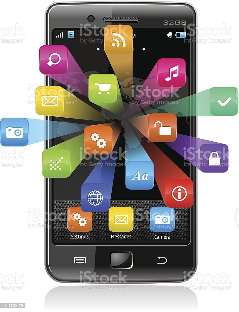 Touchscreen smartphone and application icons (EPS10 vector with transparency) royalty-free stock vector art