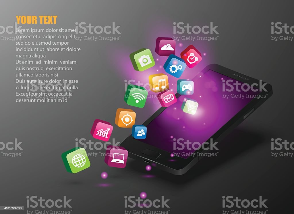 Touchscreen Smartphone with Application Icons. vector art illustration
