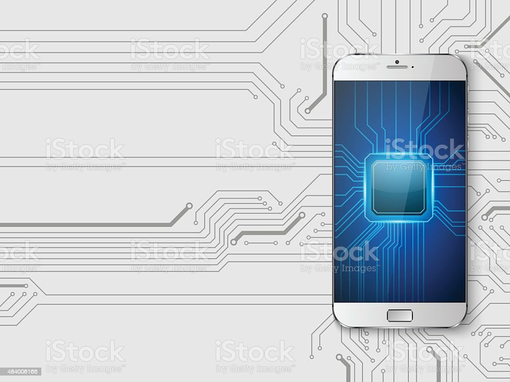 Touchscreen Smartphone with circuit background.vector vector art illustration