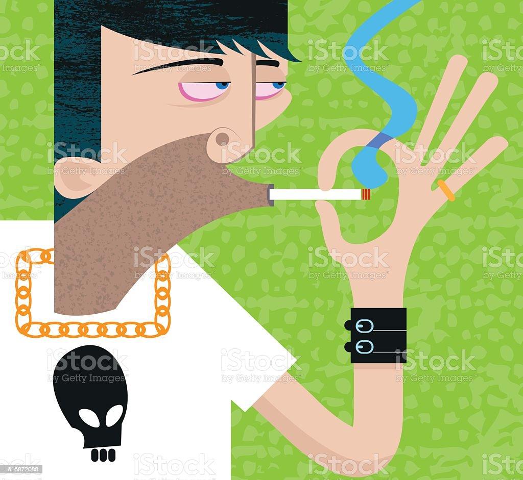 Tough guy smoking vector art illustration