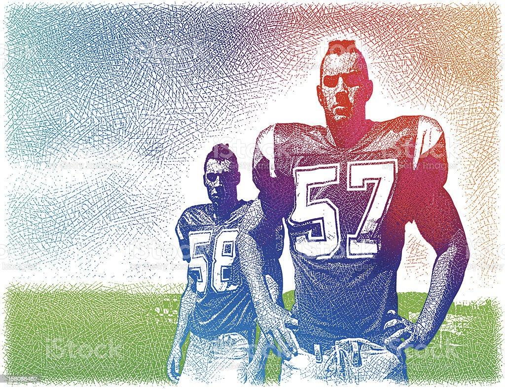 Tough, Macho Football Players royalty-free stock vector art
