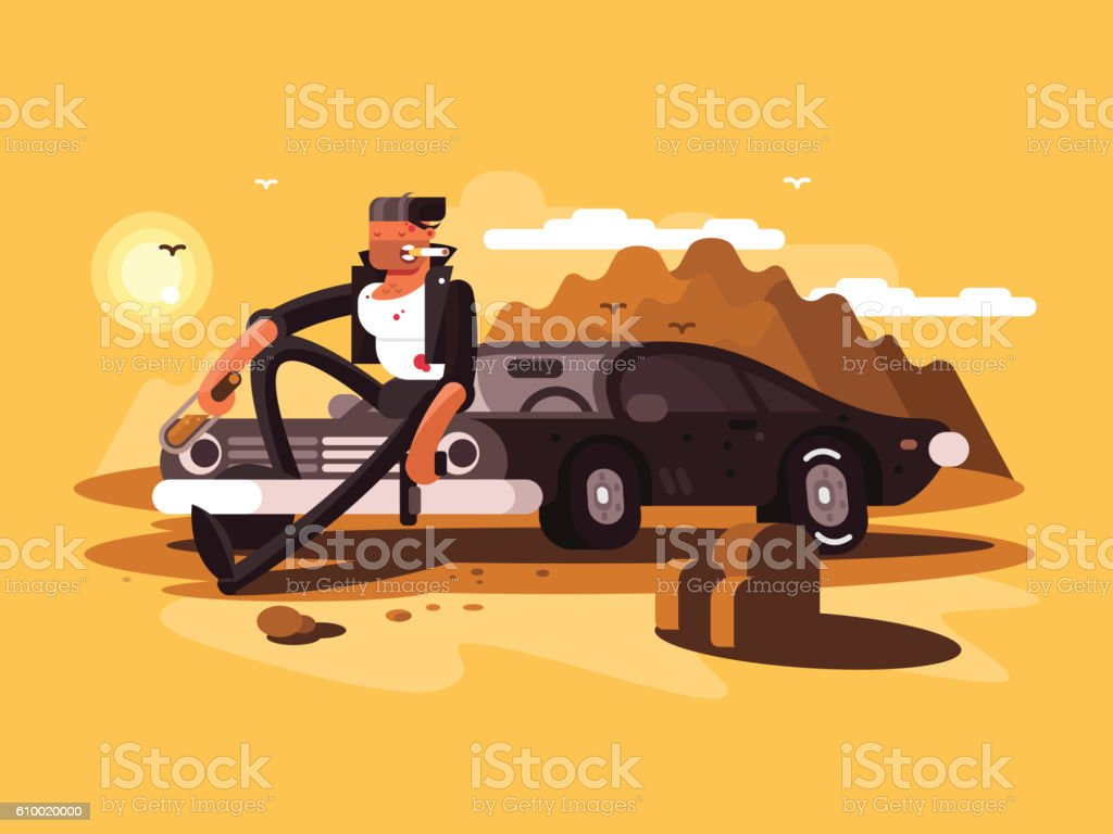 Tough man near car vector art illustration