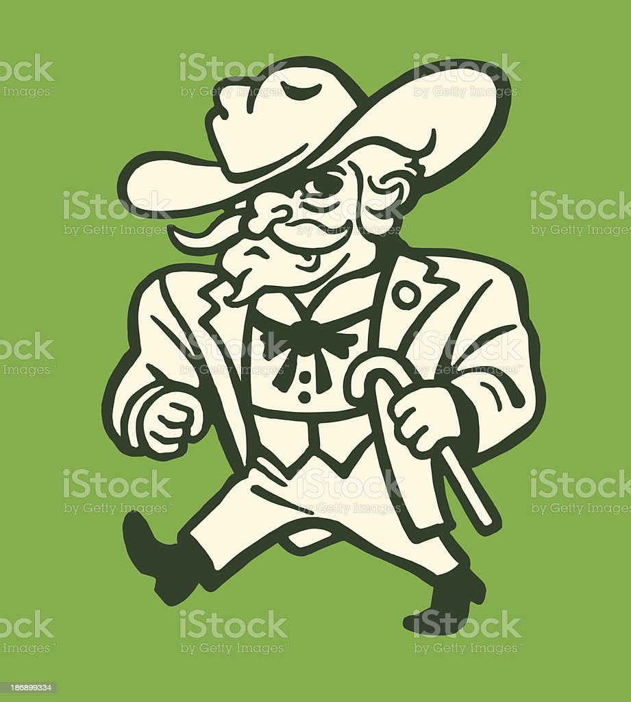 Tough Man Wearing a Suit and Cowboy Hat royalty-free stock vector art