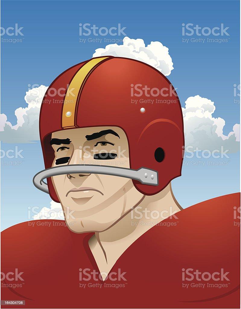 Tough, Old School, Football Player vector art illustration