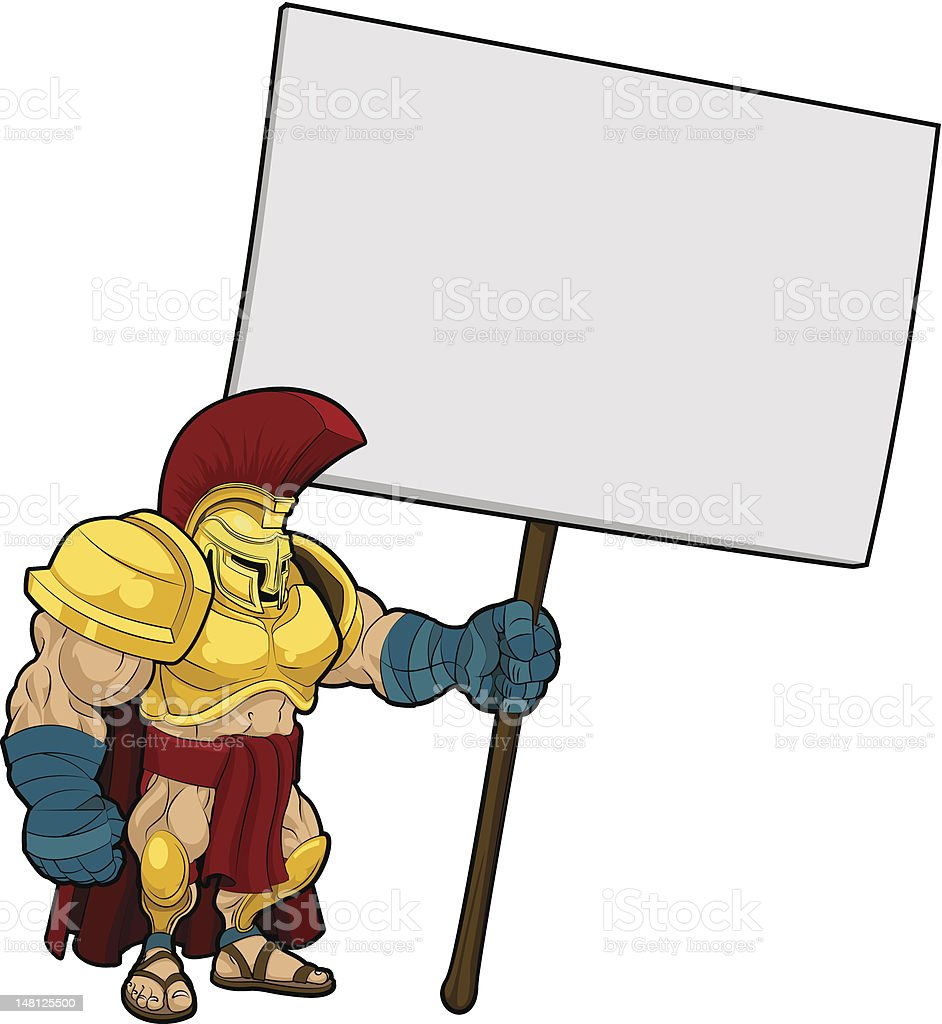 Tough Spartan or Trojan holding sign board royalty-free stock vector art