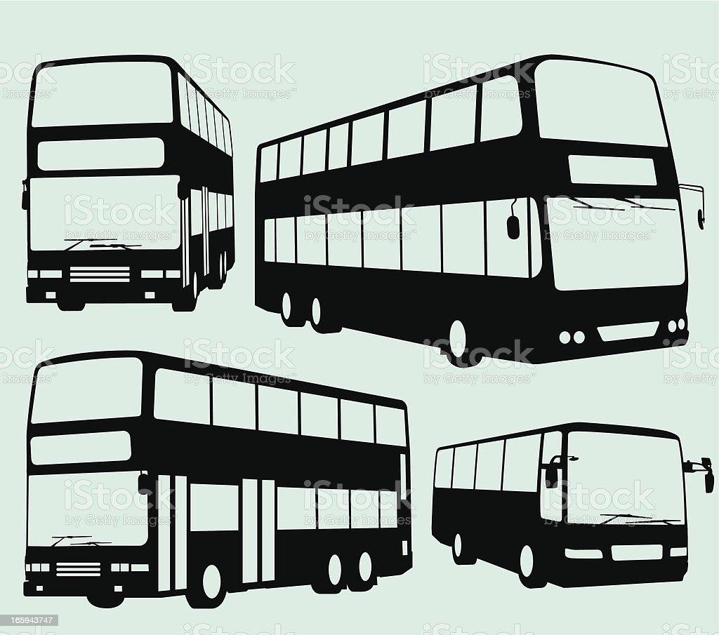 Tour Bus and Double Decker vector art illustration