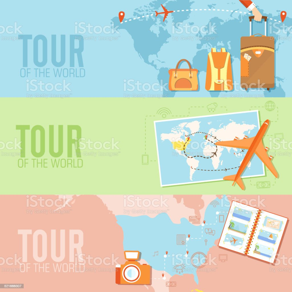 tour of the world seamless pattern. Tourism with fast travel vector art illustration