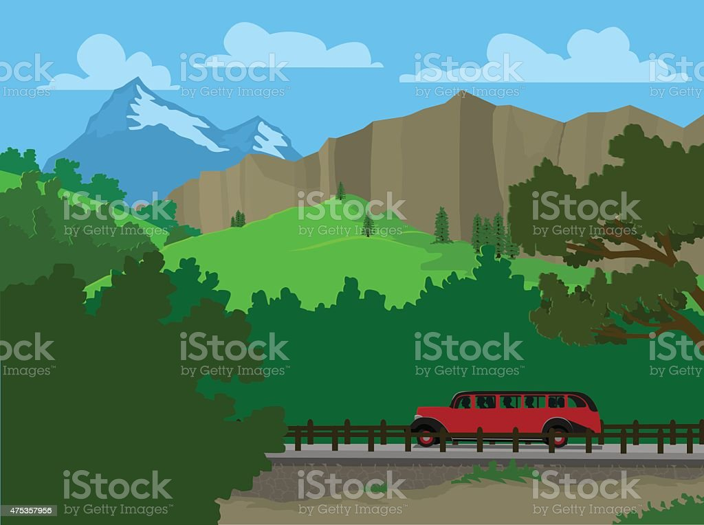 Touring A National Park vector art illustration