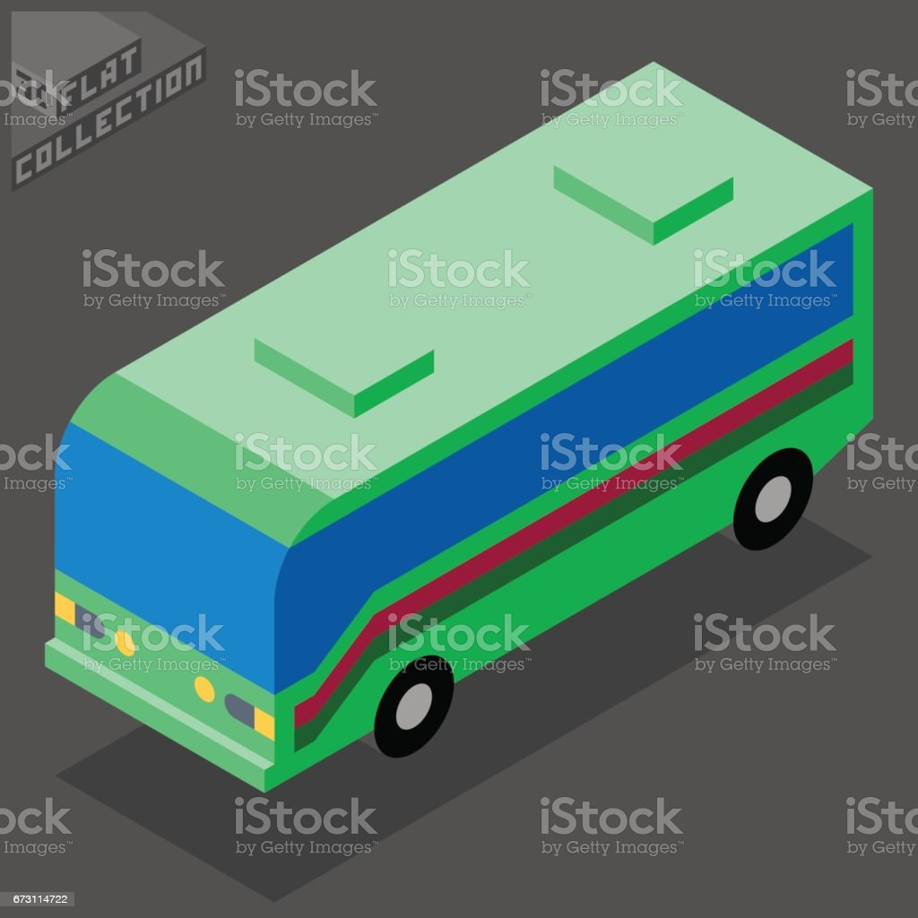 Touring Traveling Bus Icon. 3D Isometric Low Poly Flat Design. vector art illustration