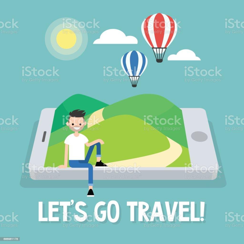 Tourism. Air balloons in the sky. Travel mobile application. Vector illustration, clip art vector art illustration