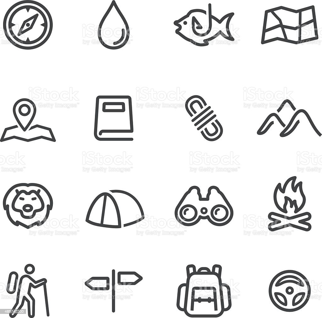 Tourism and Camping Icons - Line Series vector art illustration