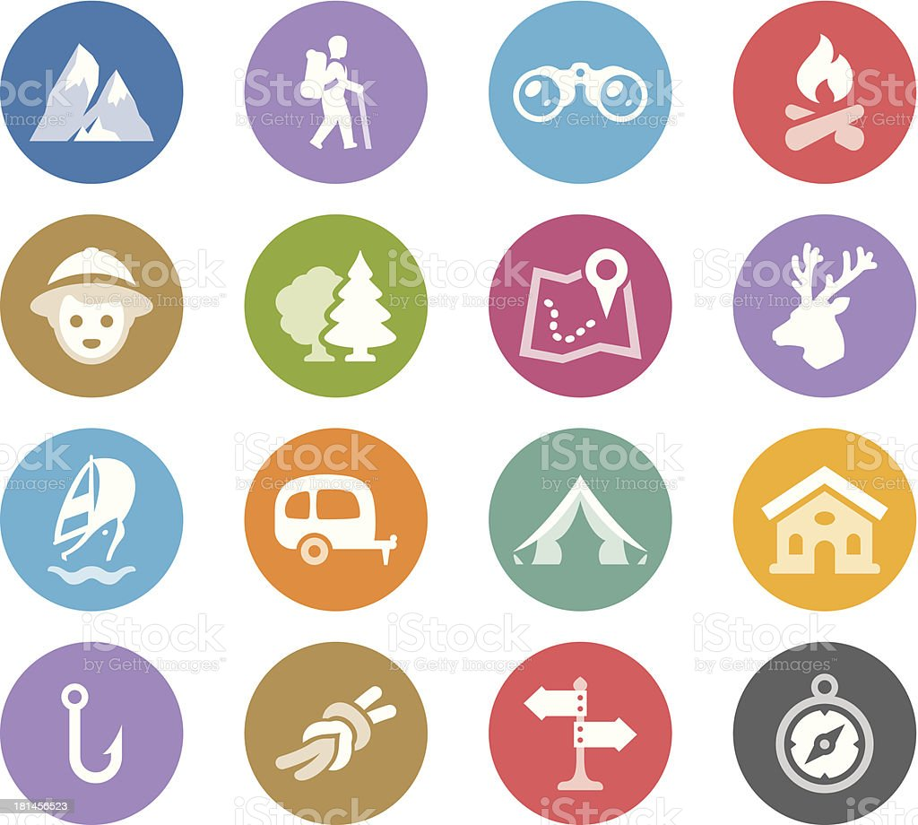 Tourism and Camping / Wheelico icons royalty-free stock vector art