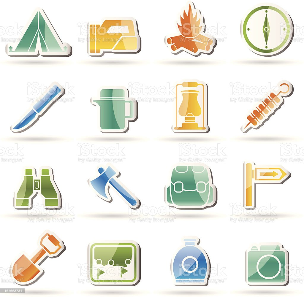 tourism and hiking icons royalty-free stock vector art