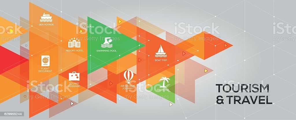 Tourism and Travel banner and icons vector art illustration