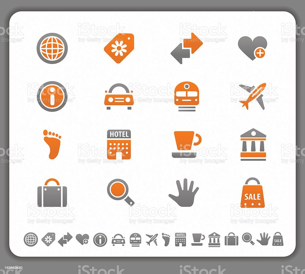 Tourism and travel icons stock photo