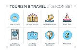 Tourism and Travel keywords with line icons