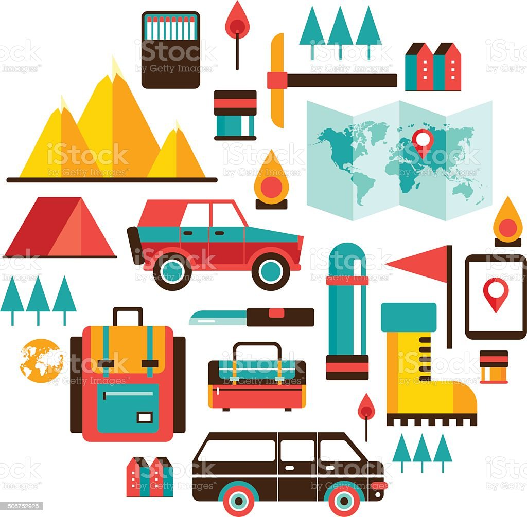 Tourism and travel Set of colorful modern flat design elements vector art illustration