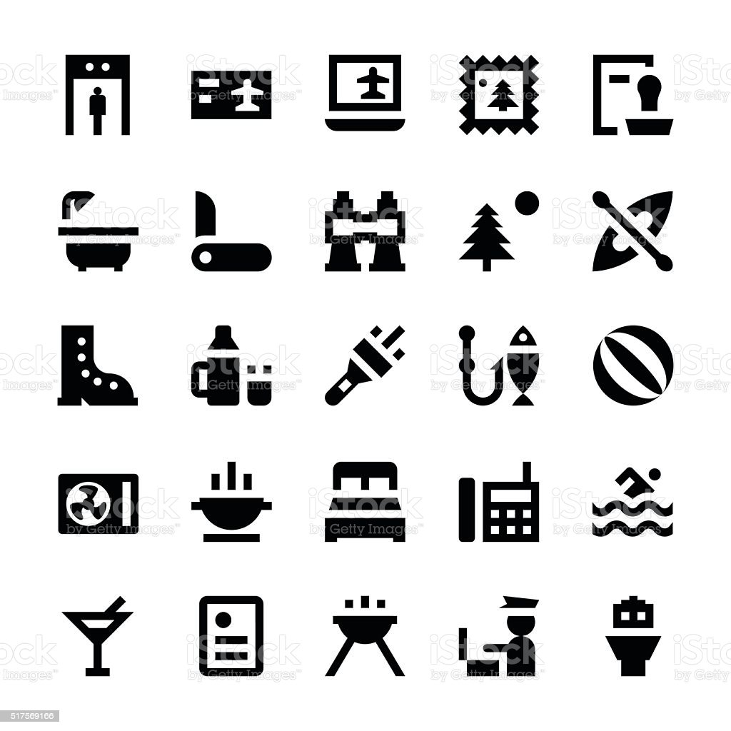 Tourism and Travel Vector Icons 6 vector art illustration