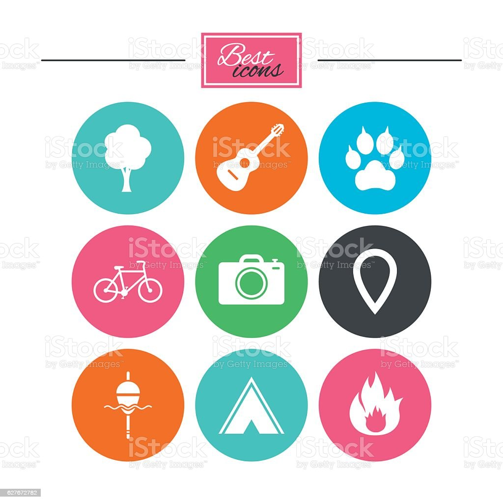 Tourism, camping icons. Fishing, fire and bike. vector art illustration