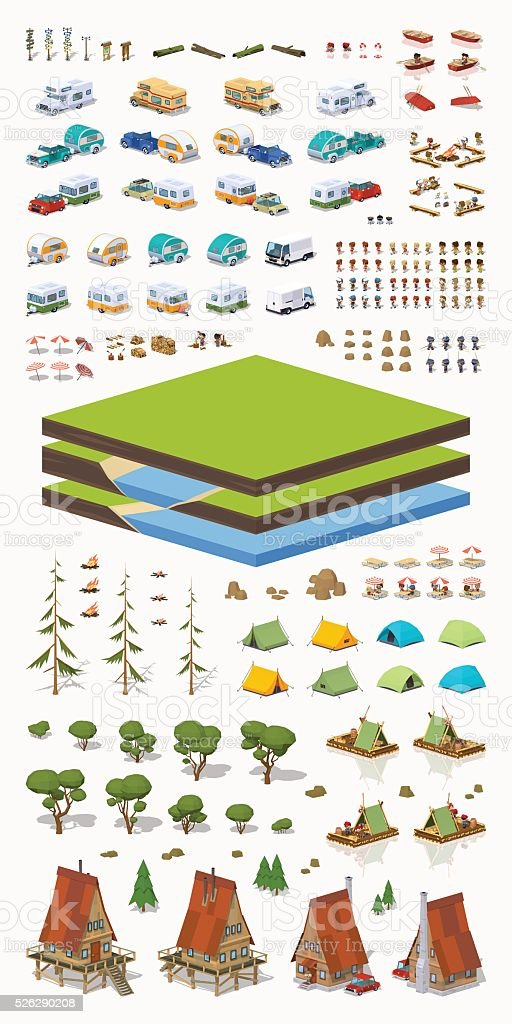 Tourism construction set vector art illustration