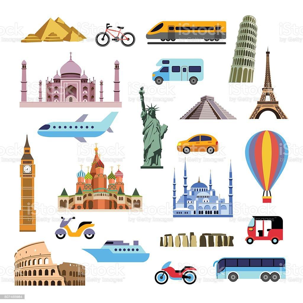 Tourism flat icons set vector art illustration